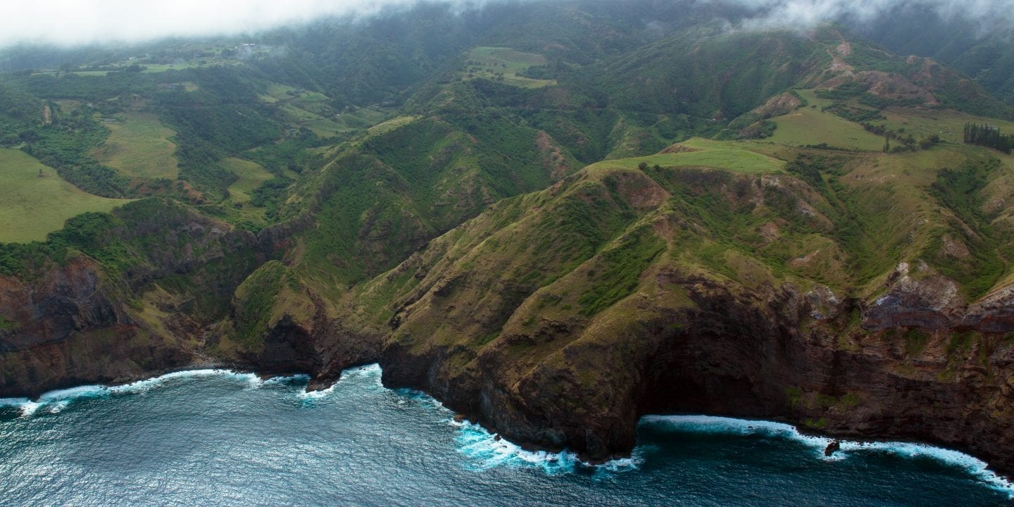 Coastline showing Maui hikes and their peaks