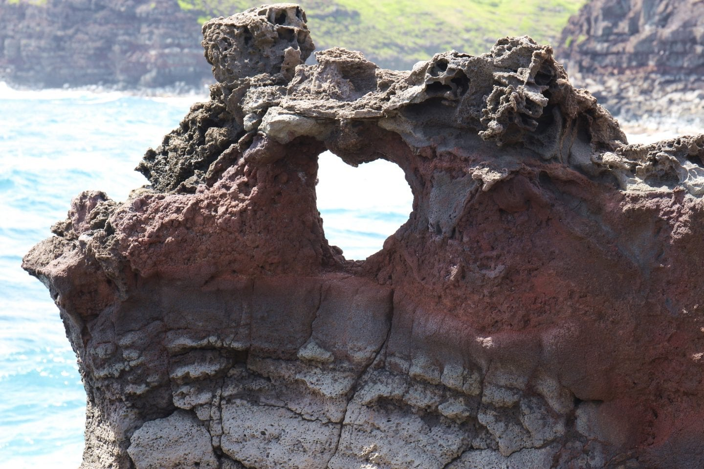 heart shaped rock at the blowhole